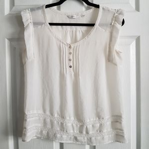 Sheer Short Sleeve Top with Lace